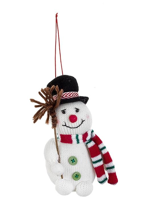 Украшение новогоднее Снеговичок в шляпеТекстильные игрушки<br>9*15см, текстиль, бело-красно-черное, подвесное<br>