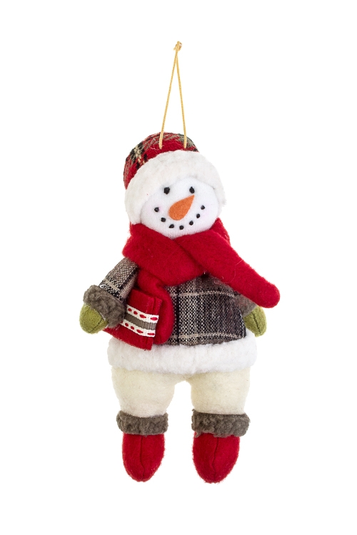 Украшение новогоднее СнеговикИгрушки и куклы<br>11*17см, текстиль, крем.-красно-зеленое, подвесное<br>
