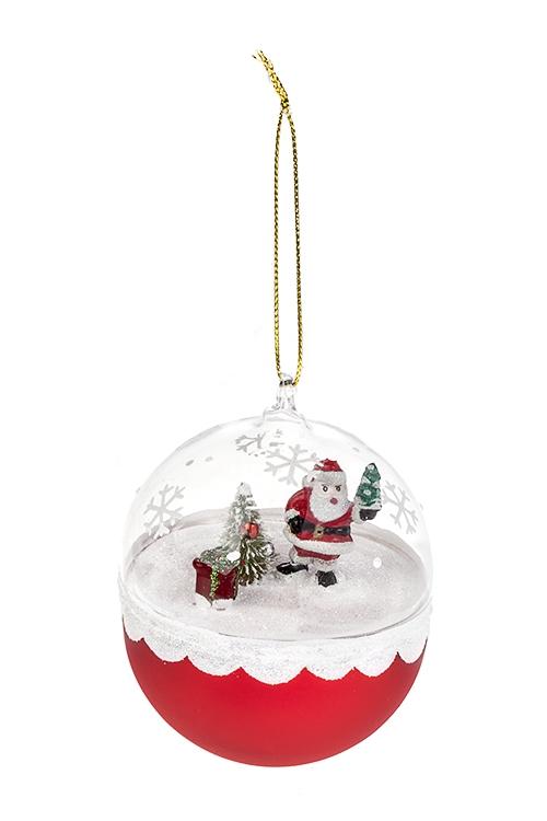 Украшение новогоднее Дед Мороз у елкиЕлочные шары<br>Д=8см, стекло, подвесное<br>