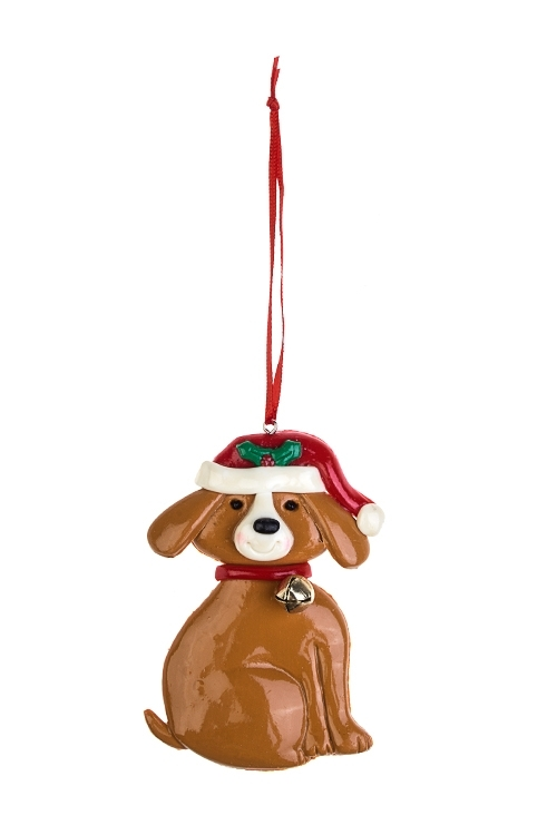 Украшение новогоднее Песик в шапочкеЕлочные игрушки<br>Выс=9см, пластм., подвесное (2 вида)<br>