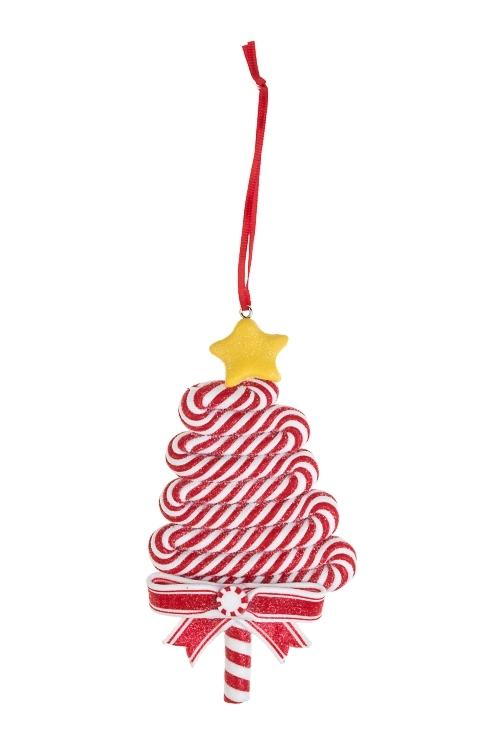 Украшение новогоднее Сладкая елочкаПодарки на Новый год 2018<br>Выс=12см, пластм., подвесное (3 цвета)<br>