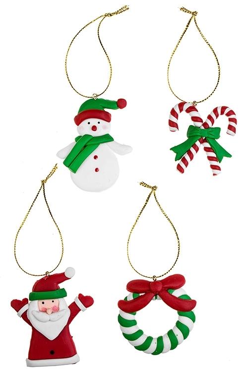 Набор украшенией новогодних Сладкий праздникЕлочные игрушки<br>Выс=6см, пластм., подвесной<br>