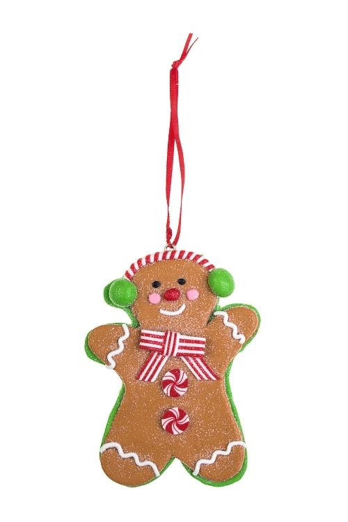 Украшение декоративное ПряняПодарки на Новый год 2018<br>Выс=10см, пластм., красно-зелен.-коричн., подвесное (2 вида)<br>