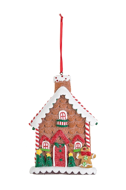 Украшение декоративное Пряничный домикПодарки на Новый год 2018<br>10*13см, пластм., подвесное (2 вида)<br>