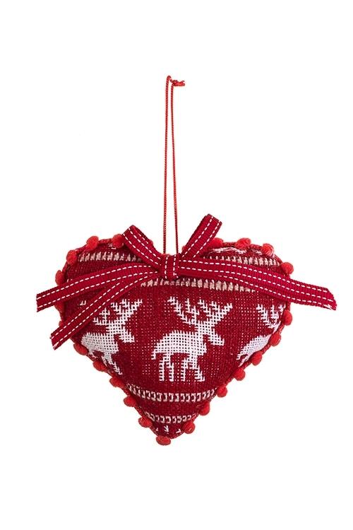 Украшение декоративное Новежское сердцеСувениры и упаковка<br>11*9см, текстиль, бело-красное, подвесное<br>