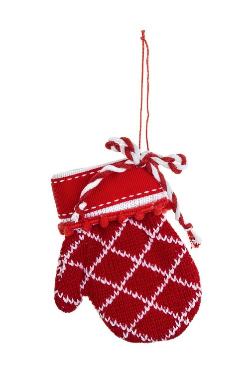 Украшение декоративное ВарежкаДекоративные гирлянды и подвески<br>8*12см, текстиль, бело-красное, подвесное (2 цвета)<br>