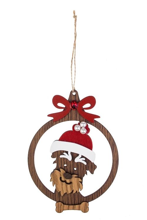 Украшение новогоднее Новогодний песикДекоративные гирлянды и подвески<br>Выс=14см, МДФ, коричн.-красно-белое, подвесное<br>