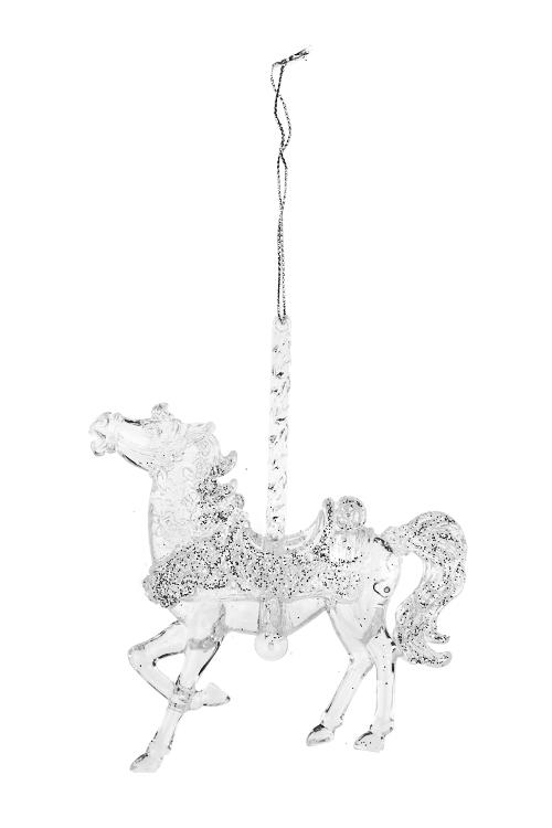 Украшение декоративное Карусельная лошадкаДекоративные гирлянды и подвески<br>Выс=13см, акрил, прозрачное, подвесное (2 вида)<br>