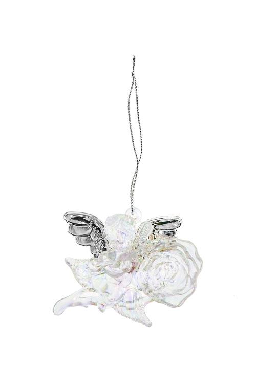 Украшение декоративное Ангелок с розойСувениры и упаковка<br>Выс=6см, акрил, прозрачно-серебр., подвесное (2 вида)<br>
