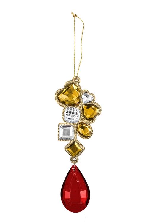 Украшение декоративное Драгоценная подвескаСувениры и упаковка<br>Выс=14см, пластм., металл, акрил, красно-золот., подвес.<br>