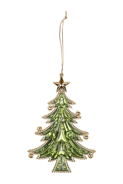 Украшение новогоднее Прекрасная елочкаСувениры и упаковка<br>Выс=13см, пластм., зелено-золот., подвесное<br>