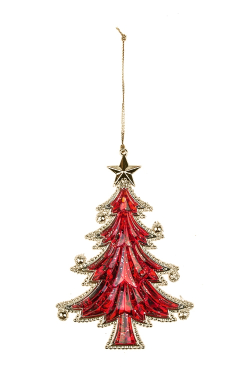 Украшение новогоднее Прекрасная елочкаСувениры и упаковка<br>Выс=13см, пластм., красно-золот., подвесное<br>