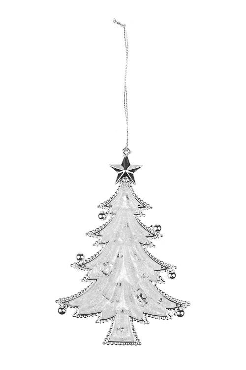 Украшение новогоднее Прекрасная елочкаСувениры и упаковка<br>Выс=13см, пластм., серебр., подвесное<br>