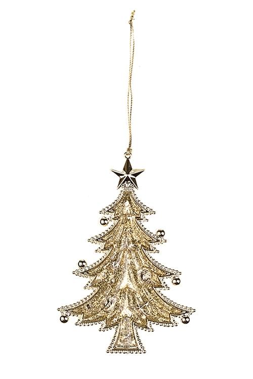 Украшение новогоднее Прекрасная елочкаСувениры и упаковка<br>Выс=13см, пластм., золот., подвесное<br>