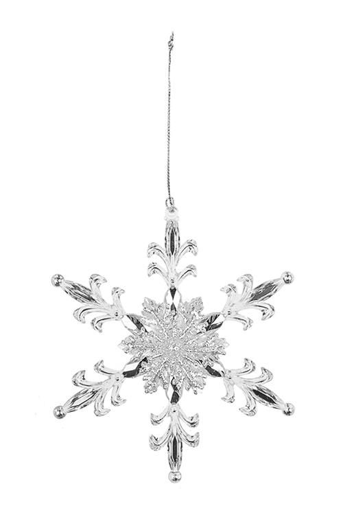 Украшение новогоднее Королевская снежинкаСувениры и упаковка<br>Выс=13см, пластм., прозрачно-серебр., подвесное<br>