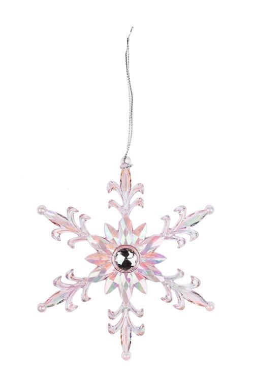 Украшение новогоднее Королевская снежинкаСувениры и упаковка<br>Выс=13см, пластм., розовое, подвесное<br>