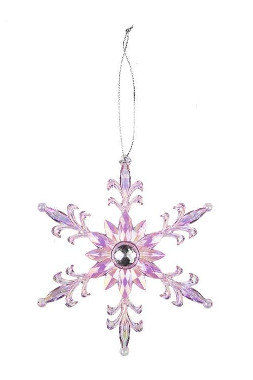 Украшение новогоднее Королевская снежинкаДекоративные гирлянды и подвески<br>Выс=13см, пластм., фиолет., подвесное<br>