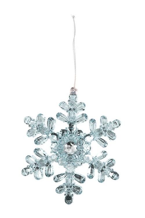 Украшение новогоднее Прекрасная снежинкаСувениры и упаковка<br>Выс=11см, пластм., голубое, подвесное<br>