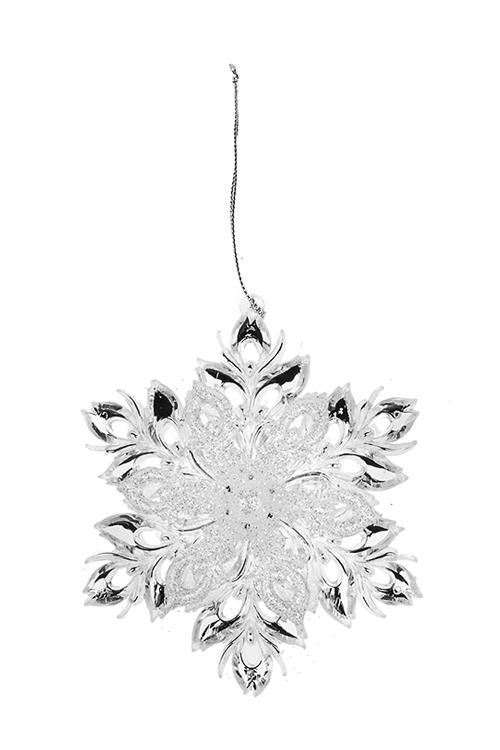 Украшение новогоднее Сказочная снежинкаСувениры и упаковка<br>Выс=13см, пластм., прозрачно-серебр., подвесное<br>