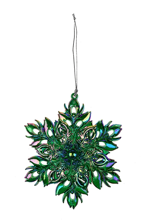 Украшение новогоднее Сказочная снежинкаСувениры и упаковка<br>Выс=13см, пластм., зелено-фиолет., подвесное<br>