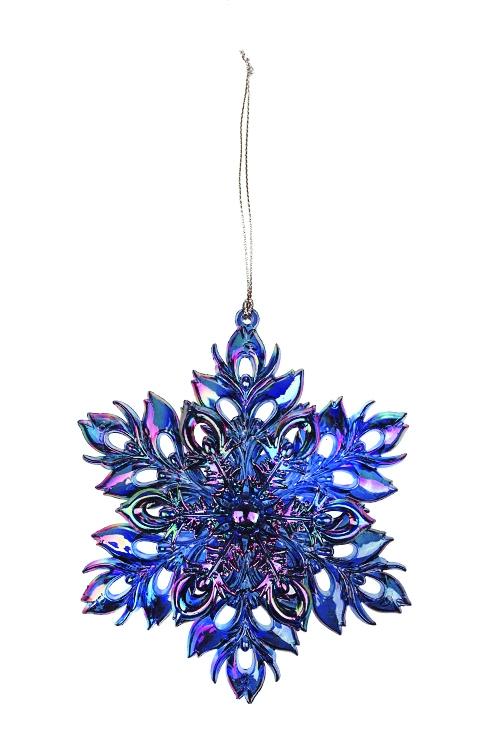 Украшение новогоднее Сказочная снежинкаСувениры и упаковка<br>Выс=13см, пластм., синее, подвесное<br>