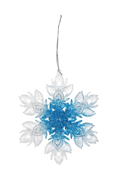 Украшение новогоднее Сказочная снежинкаДекоративные гирлянды и подвески<br>Выс=13см, пластм., прозрачно-голубое, подвесное<br>