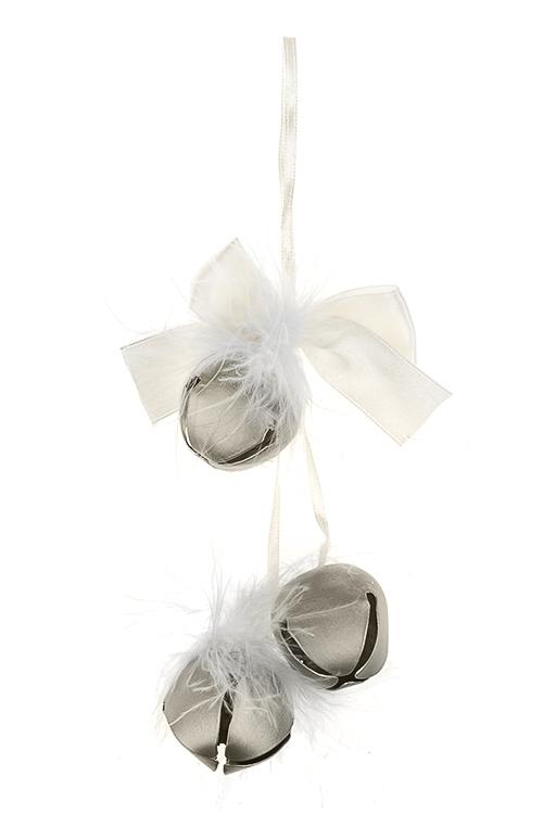 Украшение новогоднее Бубенчики с перьямиСувениры и упаковка<br>Выс=14см, металл, текстиль, перо, крем.-серебр., подвесное<br>