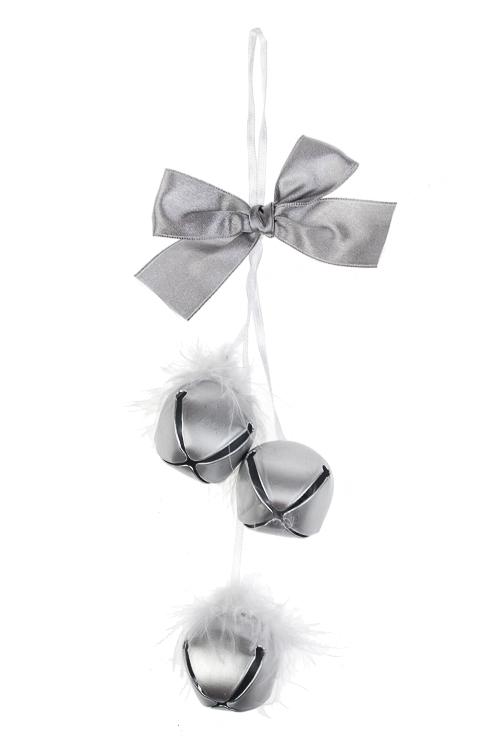 Украшение новогоднее Бубенчики с перьями бубенчики декоративные купить в москве