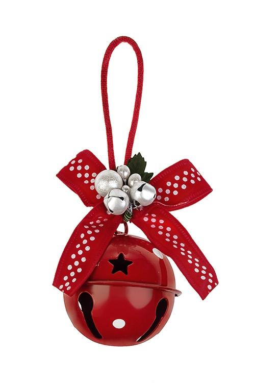 Украшение новогоднее Бубенец с бантомДекоративные гирлянды и подвески<br>Выс=12см, металл, текстиль, пластм., красное, подвесное<br>