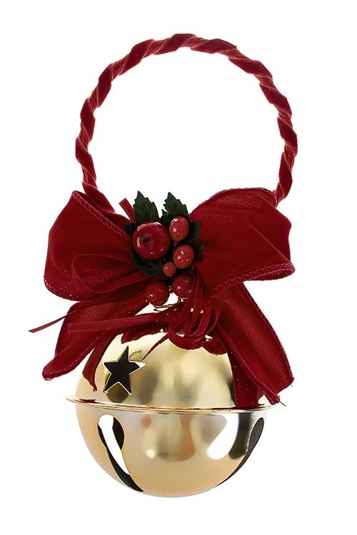 Украшение новогоднее Бубенец с бантомДекоративные гирлянды и подвески<br>Выс=19см, металл, текстиль, пластм., красно-золот., подвесное<br>