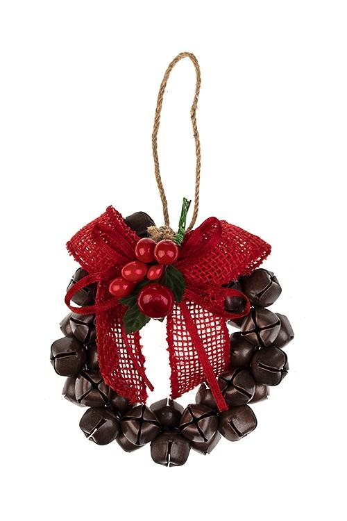 Украшение новогоднее Венок-бубенцыДекоративные гирлянды и подвески<br>Выс=11см, металл, текстиль, пластм., красно-коричн., подвесное<br>