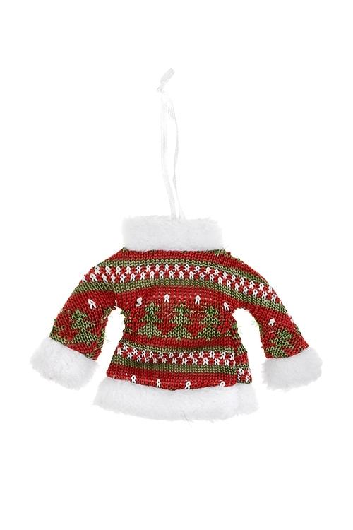 Украшение декоративное СвитерокСувениры и упаковка<br>14*10см, текстиль, бело-красно-зеленое, подвесное<br>