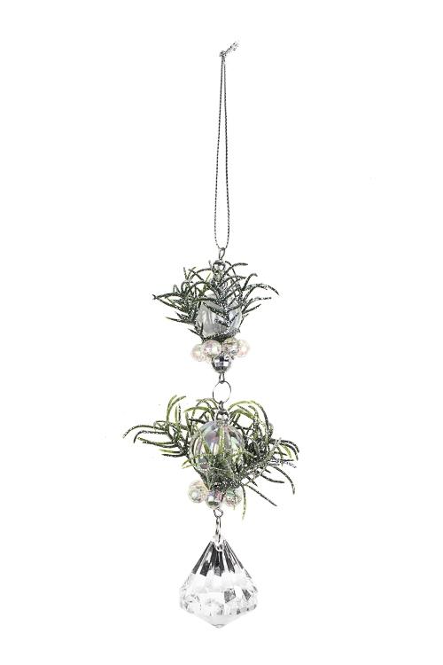 Украшение декоративное ПодвескаДекоративные гирлянды и подвески<br>Выс=15см, пластм., металл, зелено-прозр., подвесное<br>