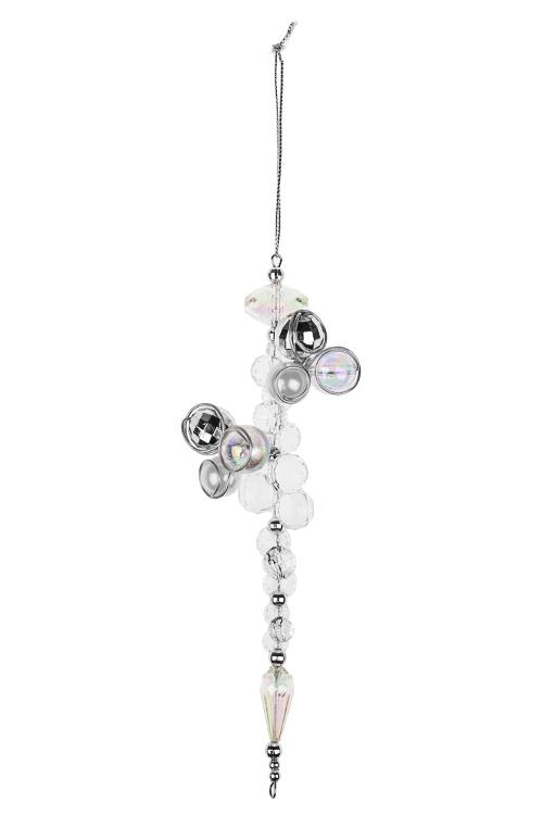 Украшение декоративное Кристаллы и жемчужиныДекоративные гирлянды и подвески<br>Выс=17см, пластм., прозр., подвесное<br>