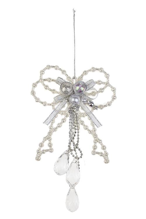Украшение декоративное Бант с кристалламиДекоративные гирлянды и подвески<br>Выс=19см, пластм., прозр.-крем., подвесное<br>