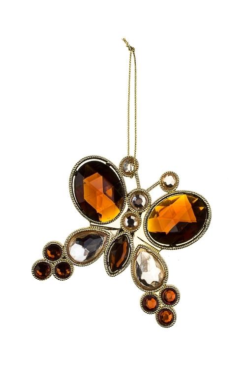 Украшение декоративное Прекрасная бабочкаДекоративные гирлянды и подвески<br>Выс=10см, пластм., металл, коричн.-золот., подвесное<br>