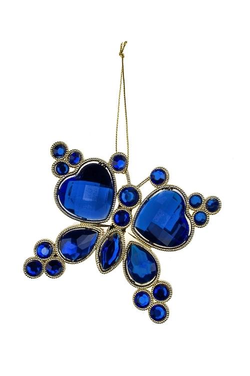 Украшение декоративное Прекрасная бабочкаСувениры и упаковка<br>Выс=10см, пластм., металл, сине-золот., подвесное<br>