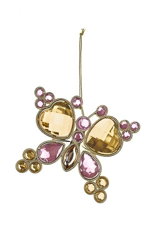 Украшение декоративное Прекрасная бабочкаСувениры и упаковка<br>Выс=10см, пластм., металл, розово-золот., подвесное<br>