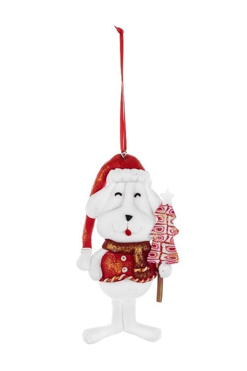 Украшение новогоднее Песик с подаркомСувениры и упаковка<br>Выс=12.5см, пластм., бело-красное, подвесное (3 вида)<br>