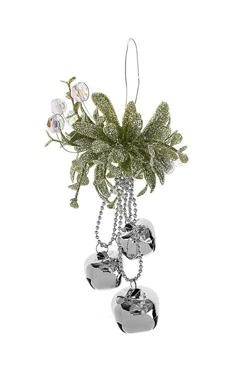 Украшение новогоднее Цветок с бубенчикамиСувениры и упаковка<br>Выс=18см, пластм., металл, зелено-серебр., подвесное<br>