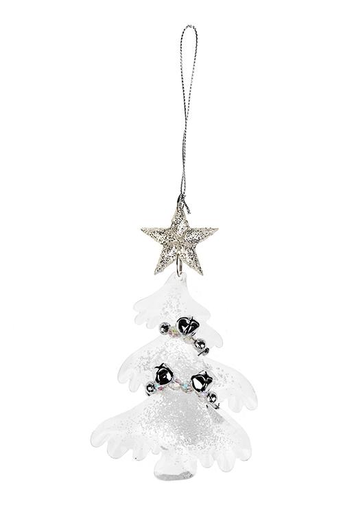 Украшение новогоднее Елочка с бубенцамиСувениры и упаковка<br>Выс=13см, пластм., металл, акрил, прозр., подвесное<br>