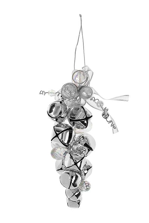 Украшение новогоднее Бубенчики с бусинамиДекоративные гирлянды и подвески<br>Выс=14см, пластм., металл, акрил, серебр.-прозр., подвес.<br>