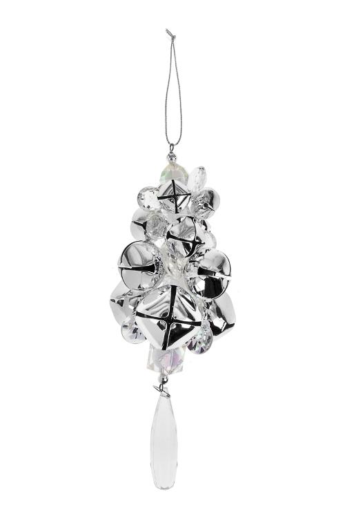 Украшение новогоднее Бубенчики с кристалламиДекоративные гирлянды и подвески<br>Выс=18см, пластм., металл, акрил, серебр.-прозр., подвес.<br>