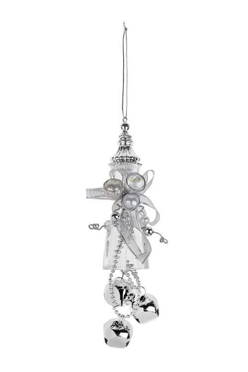 Украшение новогоднее Прекрасная подвеска с бубенцамиСувениры и упаковка<br>Выс=20см, металл, акрил, серебр.-прозр., подвес.<br>