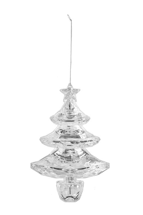 Украшение новогоднее Сверкающая елочкаСувениры и упаковка<br>Выс=14см, акрил, серебр., подвесное<br>