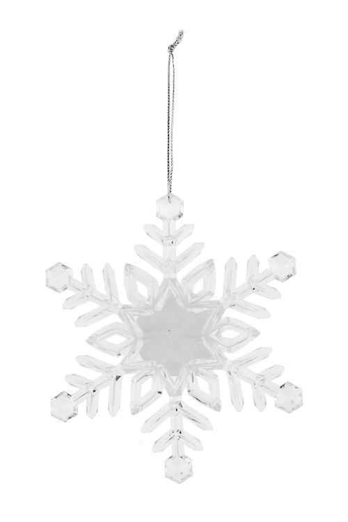 Украшение новогоднее светящ. Искрящаяся снежинкаСувениры и упаковка<br>Выс=13см, акрил, на батар., подвесное (2 вида)<br>