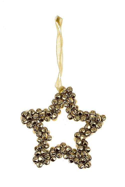 Украшение новогоднее ЗвездаДекоративные гирлянды и подвески<br>Выс=10см, металл, золот., подвесное<br>