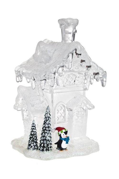 Украшение новогоднее светящееся Домик пингвинаЕлочные игрушки<br>9*8*15см, акрил, полирезин, на батарейках<br>