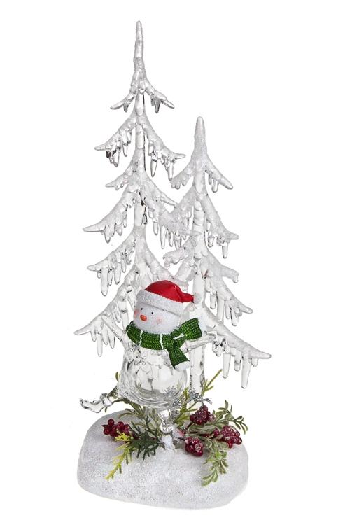 Украшение новогоднее светящееся Снеговик под елкойФигурки на Новый Год<br>Выс=32см, акрил, полирезин, на батар.<br>