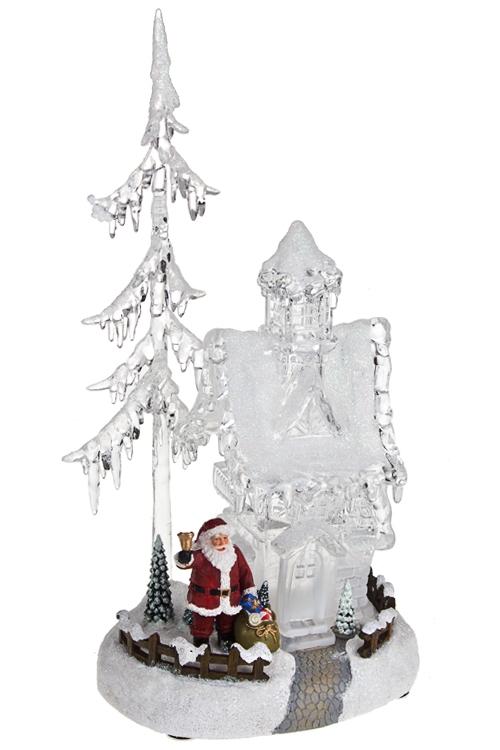 Украшение новогоднее светящееся и музык. Дом Деда МорозаВыс=33см, акрил, полирезин, на батар.<br>